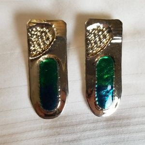 Gold Tone Blue Green Rectangle Earrings